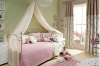 """<p>The fun thing about designing a girl's bedroom is that with the base colour of pink, you can mix and match different patterns to achieve a cosy look. Florals, spots and graphic prints all work well together as long as you have the common link of one colour. The apple green looks great too with this pastel pink, so consider introducing it as a pretty option.</p><p>Pictured: Storytime Fairy Tale collection, <a href=""""https://www.i-liv.co.uk/fabrics/story-time.html"""" rel=""""nofollow noopener"""" target=""""_blank"""" data-ylk=""""slk:ILIV"""" class=""""link rapid-noclick-resp"""">ILIV</a></p>"""