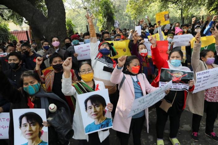 Protest against the military coup in Myanmar, in New Delhi