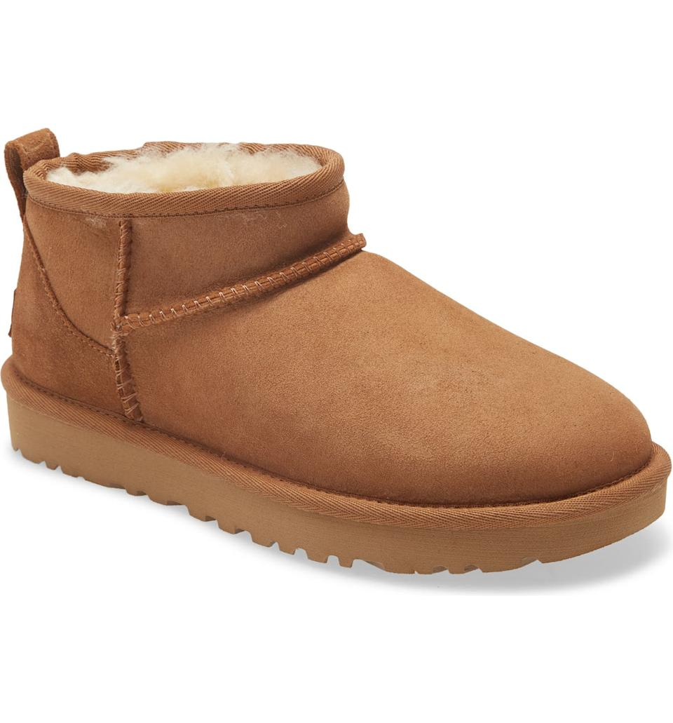 The Ugg Ultra Mini Classic Boots are back in stock - but not for long. Image via Nordstrom.