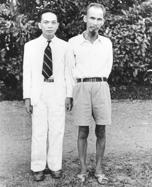FILE - In this 1950 file photo, Ho Chi Minh, right, who became president of North Vietnam, poses with Vo Nguyen Giap, minister of Interior in Ho Chi Minh's provisional government in Vietnam. Officials said legendary Giap, the military mastermind who drove the French and the Americans out of Vietnam, has died on Friday in hospital in Hanoi where he had been since 2009. He was 102. (AP Photo, File)
