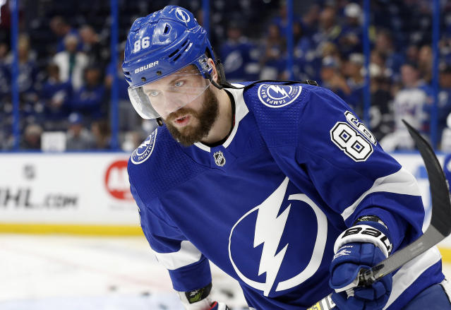 "<a class=""link rapid-noclick-resp"" href=""/nhl/players/5425/"" data-ylk=""slk:Nikita Kucherov"">Nikita Kucherov</a> is a solid bet to be the first pick in hockey drafts this season. Mandatory Credit: Kim Klement-USA TODAY Sports"