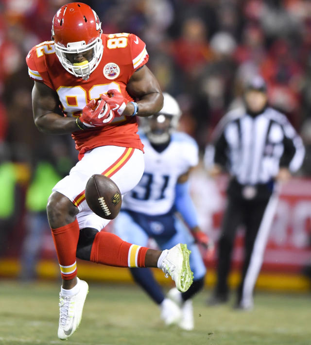 <p>Kansas City Chiefs tight end Orson Charles (82) drops a pass in the fourth quarter against the Tennessee Titans on Saturday, Jan. 6, 2018, during the AFC Wild Card playoff game at Arrowhead Stadium in Kansas City, Mo. The Titans advanced, 22-21. (John Sleezer/Kansas City Star/TNS) </p>