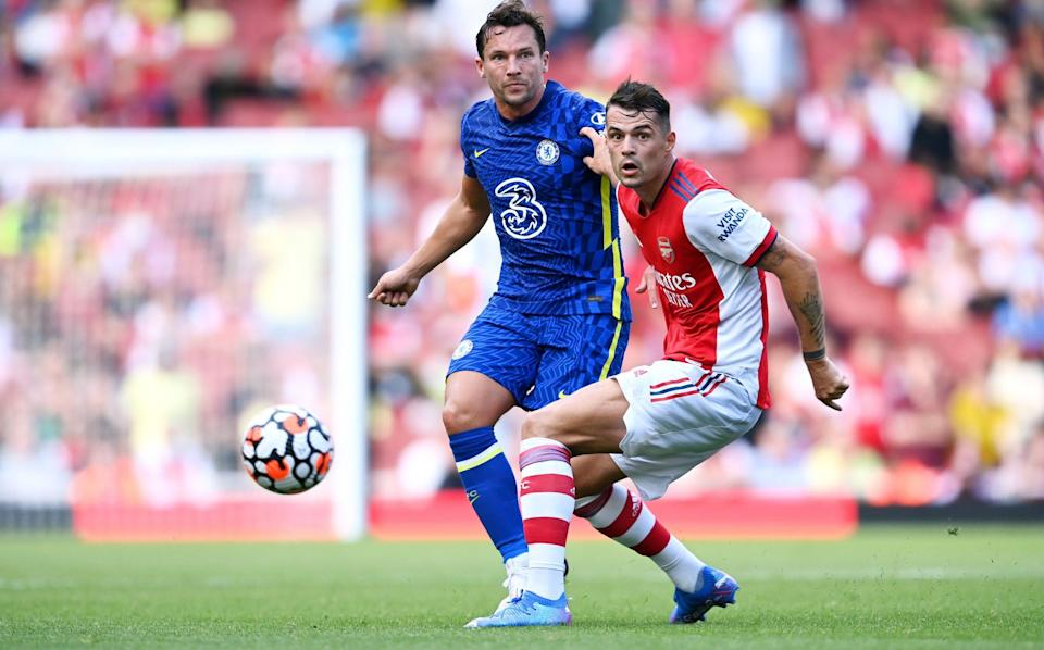 Granit Xhaka in action for Arsenal against Chelsea - GETTY IMAGES