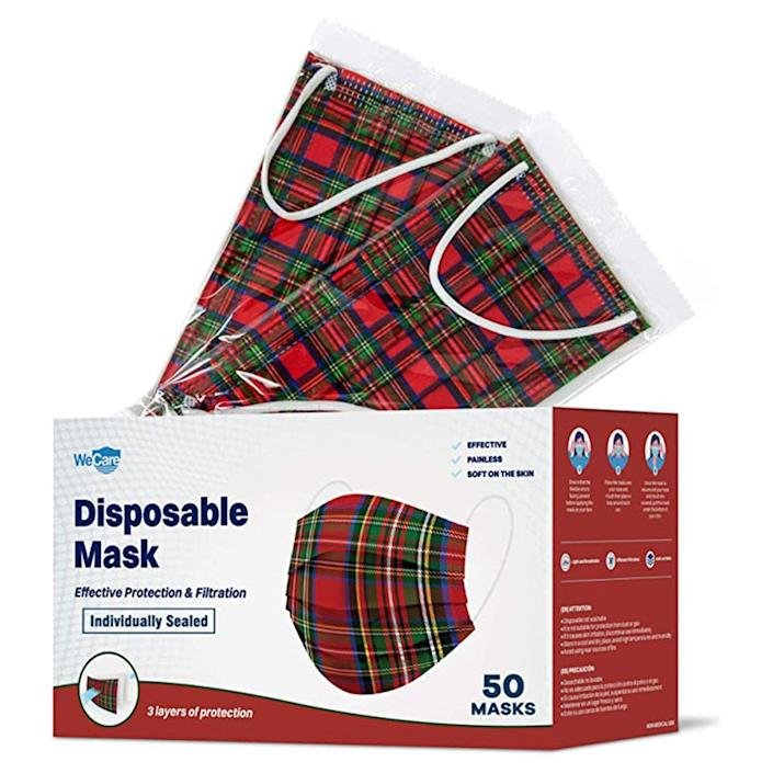 WeCare Disposable Face Mask Individually Wrapped - 50 Pack