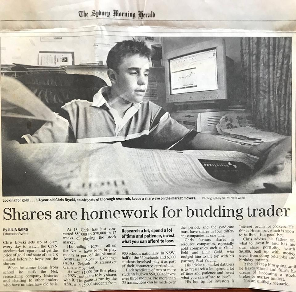 A teenaged Chris Brycki in a Sydney Morning Herald newspaper article.