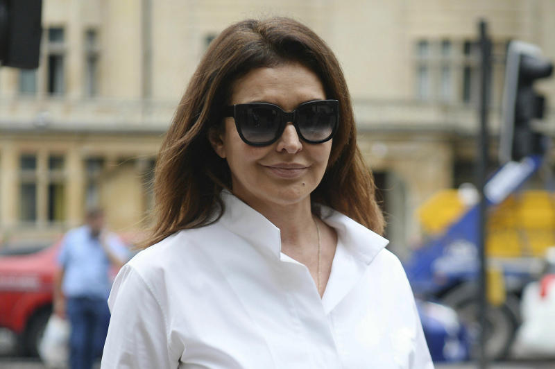 Zamira Hajiyeva arrives at Westminster Magistrates' Court for an extradition hearing, Monday June 24, 2019. Zamira Hajiyeva is wanted on two charges of alleged embezzlement in Azerbaijan. (Kirsty O'Connor/PA via AP)