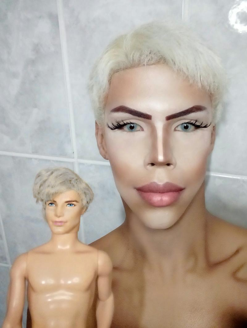 Man who wants to look like a human ken doll