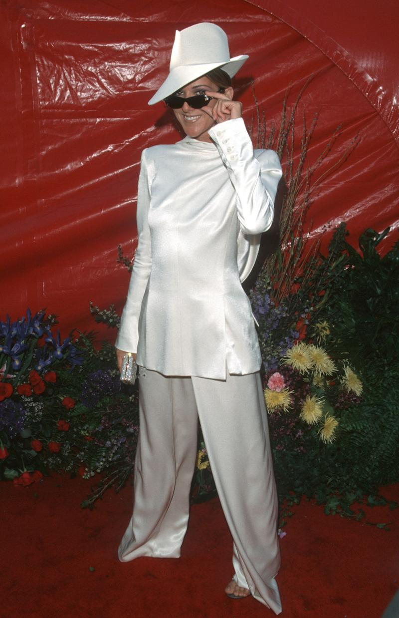 Okay, this might not be a dress but how could we not mention this? This white silk backwards tuxedo and headwear is unlike any red carpet ensemble we'd seen before. Who designed it? John Galliano of course. Celine Dion paired it with sunglasses because... why on earth not?