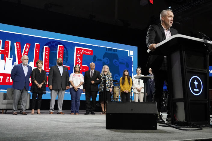 Outgoing Southern Baptist Convention President J. D. Greear speaks at the conclusion of the denomination's annual meeting Wednesday, June 16, 2021, in Nashville, Tenn. (AP Photo/Mark Humphrey)