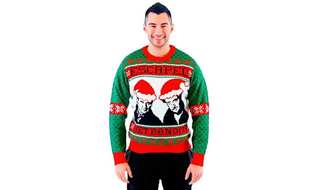 "<p>Before they were The Sticky Bandits, hapless thieves Harry and Marv were The Wet Bandits, but they were always two grown men outsmarted at every turn by one very clever little boy. <strong><a href=""https://www.walmart.com/ip/Home-Alone-Escaped-Wet-Bandits-Ugly-Christmas-Sweater/111556252?wmlspartner=wlpa&selectedSellerId=4624&adid=22222222227073976299&wmlspartner=wmtlabs&wl0=&wl1=g&wl2=c&wl3=186785763980&wl4=pla-292617717535&wl5=9007582&wl6=&wl7=&wl8=&wl9=pla&wl10=113834028&wl11=online&wl12=111556252&wl13=&veh=sem"" rel=""nofollow noopener"" target=""_blank"" data-ylk=""slk:Buy here"" class=""link rapid-noclick-resp"">Buy here</a></strong> </p>"