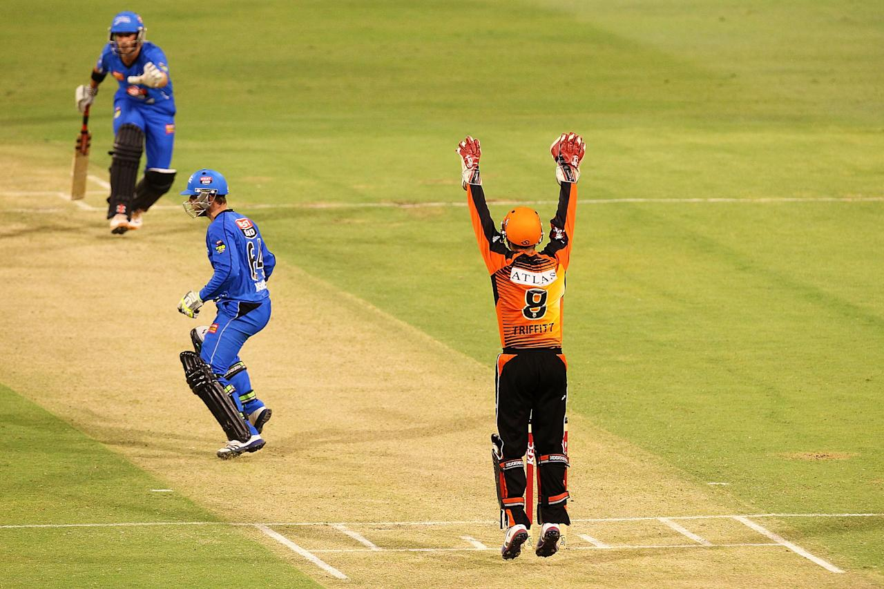 PERTH, AUSTRALIA - DECEMBER 09:Tom Triffett of the Scorchers appeals an LBW against Phil Hughes of the Strikers  during the Big Bash League match between the Perth Scorchers and Adelaide Strikers at WACA on December 9, 2012 in Perth, Australia.  (Photo by Will Russell/Getty Images)