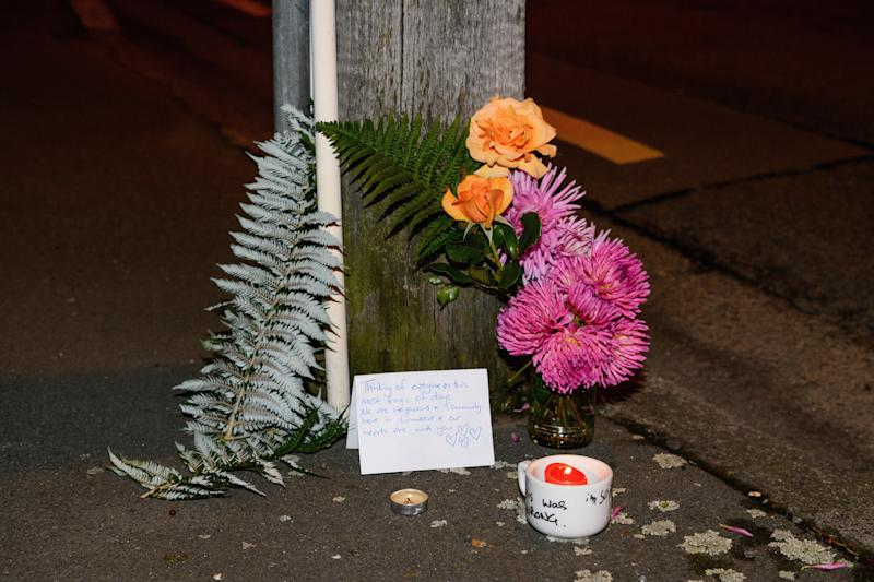 A floral tribute on Linwood Avenue near the Linwood Masjid on March 15, 2019, in Christchurch, New Zealand. (Kai Schwoerer via Getty Images)