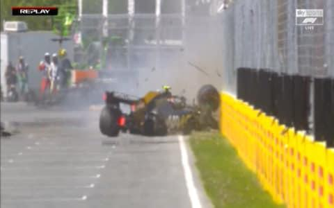 Kevin Magnussen's Haas goes into the wall - Credit: Sky Sports F1