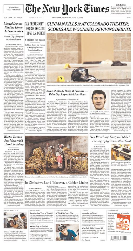 New York Times, July 21, 2012