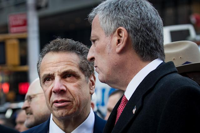 New York Gov. Andrew Cuomo and New York City Mayor Bill de Blasio. (Photo: Drew Angerer/Getty Images)