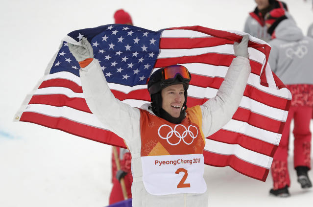Shaun White with the flag before he dragged it along the ground