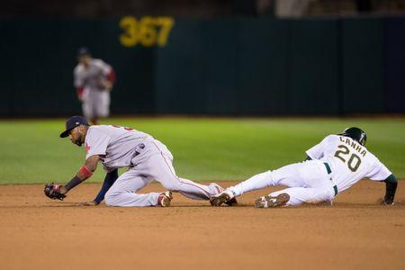 Apr 1, 2019; Oakland, CA, USA; Boston Red Sox second baseman Eduardo Nunez (36) tags Oakland Athletics first baseman Mark Canha (20) in the fourth inning at Oakland Coliseum. Mandatory Credit: John Hefti-USA TODAY Sports