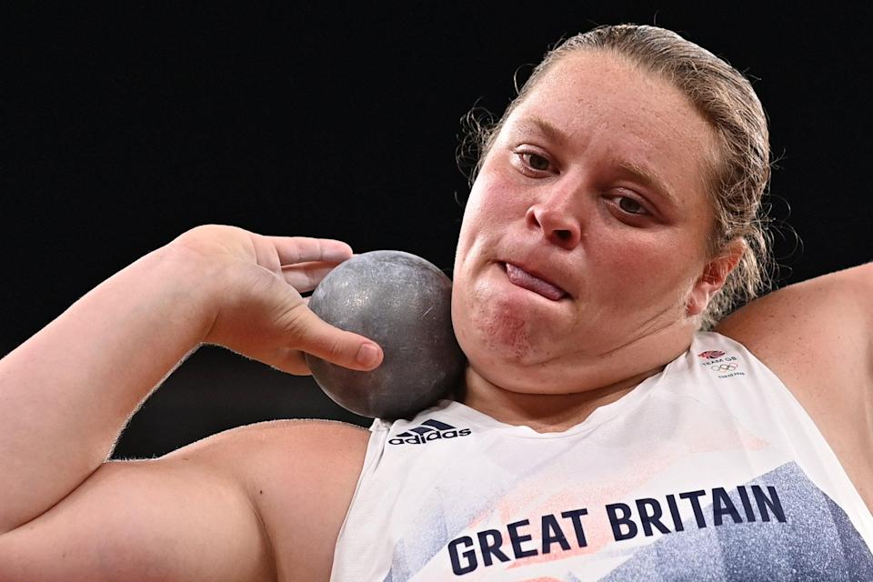 Britain's Sophie McKinna competes in the women's shot put qualification during the Tokyo 2020 Olympic Games at the Olympic Stadium in Tokyo on July 30, 2021 (AFP via Getty Images)