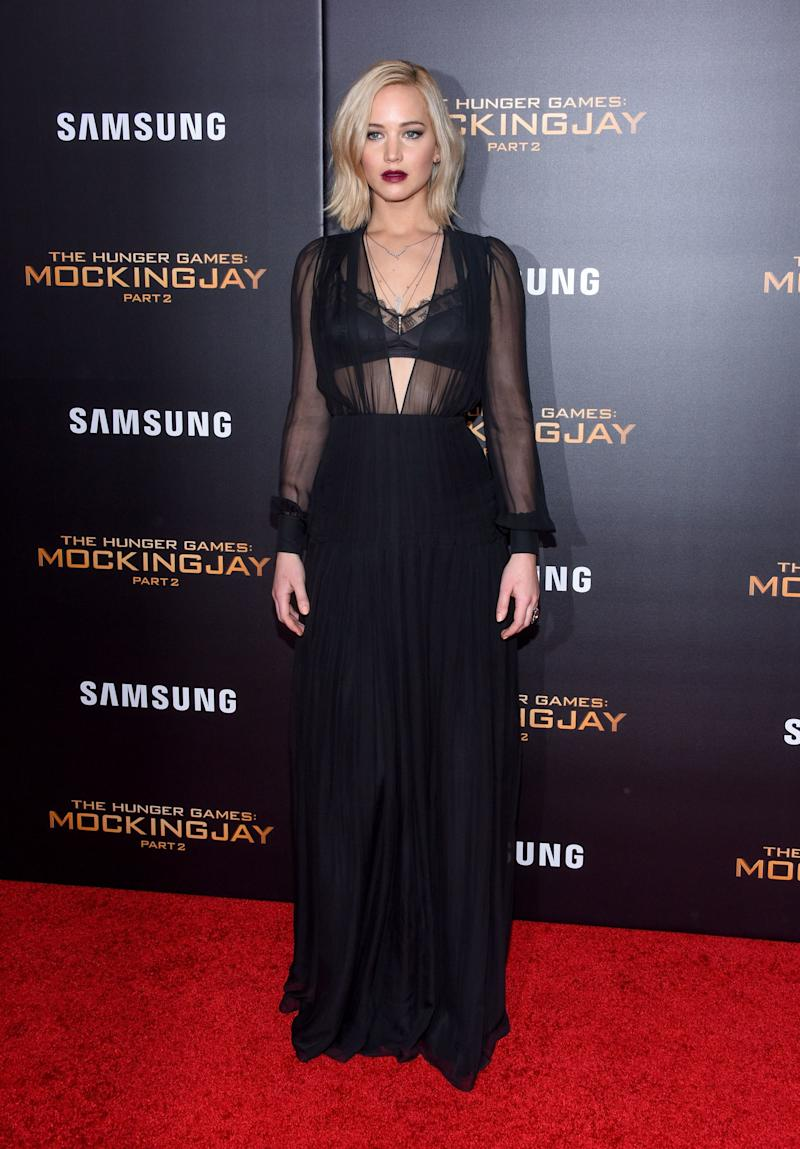 Lawrence strayed away from Dior in a sheer, black Schiaparelli dress to the final premiere of The Hunger Games: Mockingjay, Part 2 in New York.