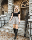 """<p>No cheetah print in your closet? No problem. Use the look as a guide to go as just about any type of feline, like a standard black cat. </p><p><a class=""""link rapid-noclick-resp"""" href=""""https://www.instagram.com/p/B4OAPNqgU0B/"""" rel=""""nofollow noopener"""" target=""""_blank"""" data-ylk=""""slk:SEE MORE"""">SEE MORE</a></p><p><a class=""""link rapid-noclick-resp"""" href=""""https://www.amazon.com/DreamLily-headpiece-Chorker-Necklaces-MD-02/dp/B01N9PB4CX?tag=syn-yahoo-20&ascsubtag=%5Bartid%7C10072.g.33547559%5Bsrc%7Cyahoo-us"""" rel=""""nofollow noopener"""" target=""""_blank"""" data-ylk=""""slk:SHOP CAT EARS AND CHOKER"""">SHOP CAT EARS AND CHOKER</a></p>"""