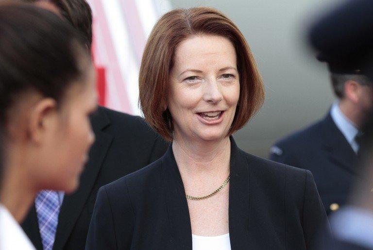 Australian Prime Minister Julia Gillard pictured upon arrival at Phnom Penh International Airport on November 19, 2012