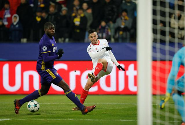 Soccer Football - Champions League - NK Maribor vs Sevilla - Ljudski vrt, Maribor, Slovenia - December 6, 2017 Sevilla's Pablo Sarabia in action with NK Maribor's Jean-Claude Billong REUTERS/Srdjan Zivulovic