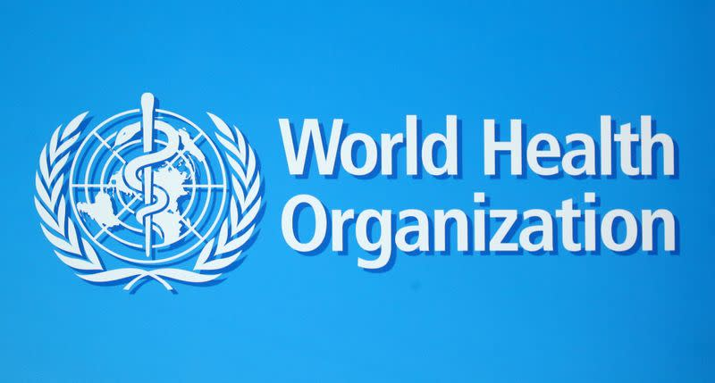A logo of the World Health Organization (WHO), is seen before a news conference in Geneva