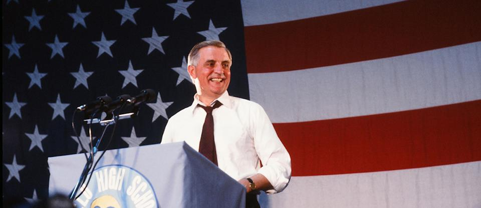 Walter Mondale campaigning for the presidency in 1984. (Photo: Robert R. McElroy/Getty Images)