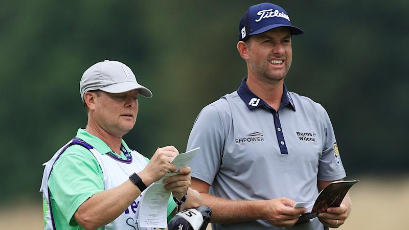 Webb Simpson using fill-in caddie while Paul Tesori heals ailing back