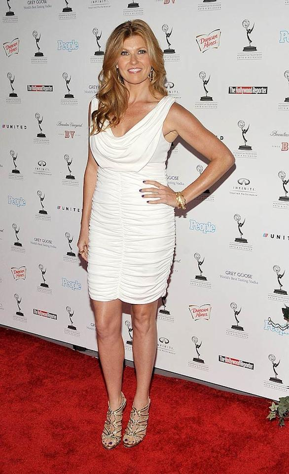 """Fellow snubbed actress, 42-year-old Connie Britton -- who deserved to win Lead Actress in a Drama for her riveting role on """"Friday Night Lights"""" -- was a vision in white upon arriving at yet another star-studded pre-Emmy soiree. Dr. Billy Ingram/<a href=""""http://www.wireimage.com"""" target=""""new"""">WireImage.com</a> - August 27, 2010"""