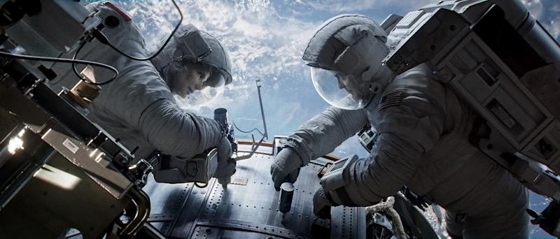 "Sandra Bullock and George Clooney in ""Gravity"""