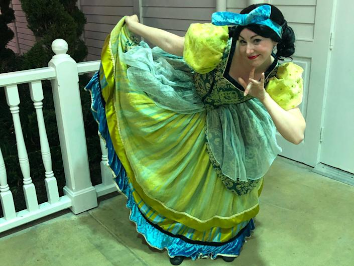 The writer posing in a Disney costume