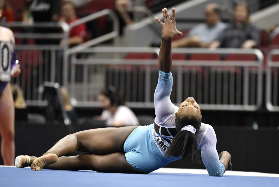 Shilese Jones on the mat after a performance.