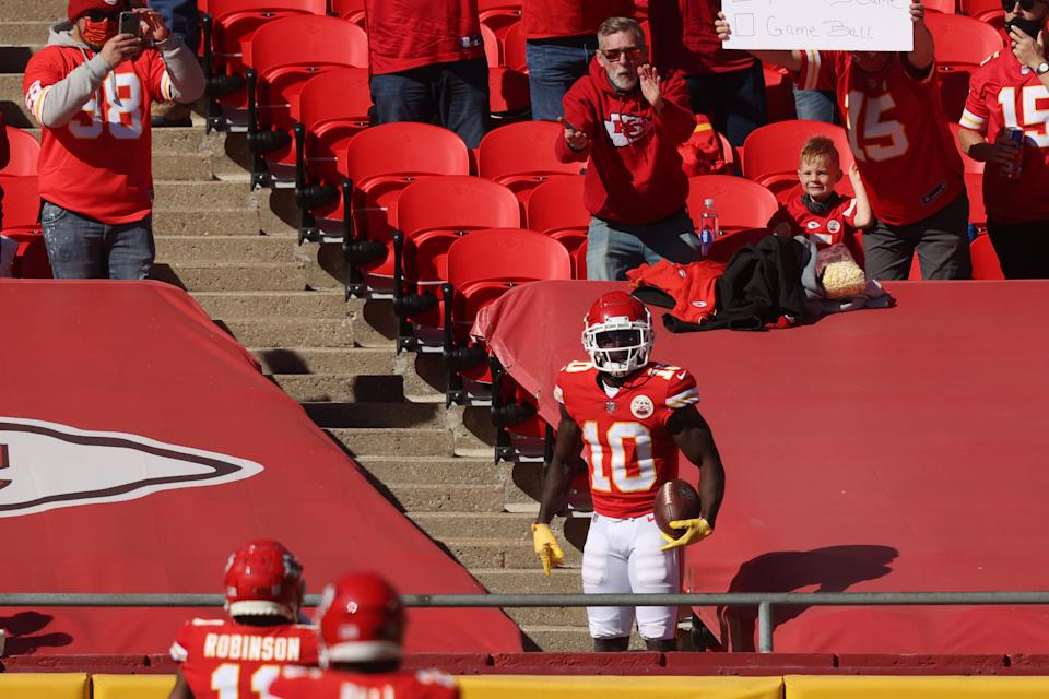 Tyreek Hill broke out a unique celebration in the Chiefs' game against the Jets Sunday. (Photo by Jamie Squire/Getty Images)