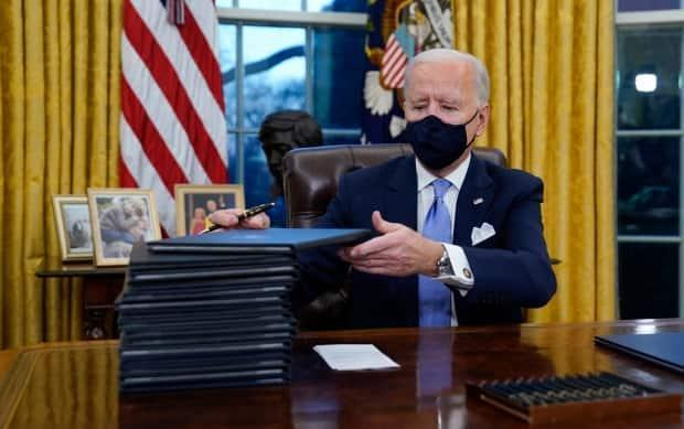 U.S. President Joe Biden signed his first executive orders on Jan. 20, including one that cancelled the permit for Keystone XL.