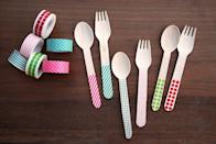 """<p>Since washi tape comes in countless patterns and colors, it's always party-ready. Stick strips in hues that suit your theme to plain spoons and forks. </p><p><em><a href=""""http://themerrythought.com/diy/diy-washi-tape-silverware/"""" rel=""""nofollow noopener"""" target=""""_blank"""" data-ylk=""""slk:Get the tutorial at The Merry Thought »"""" class=""""link rapid-noclick-resp"""">Get the tutorial at The Merry Thought »</a></em> </p>"""
