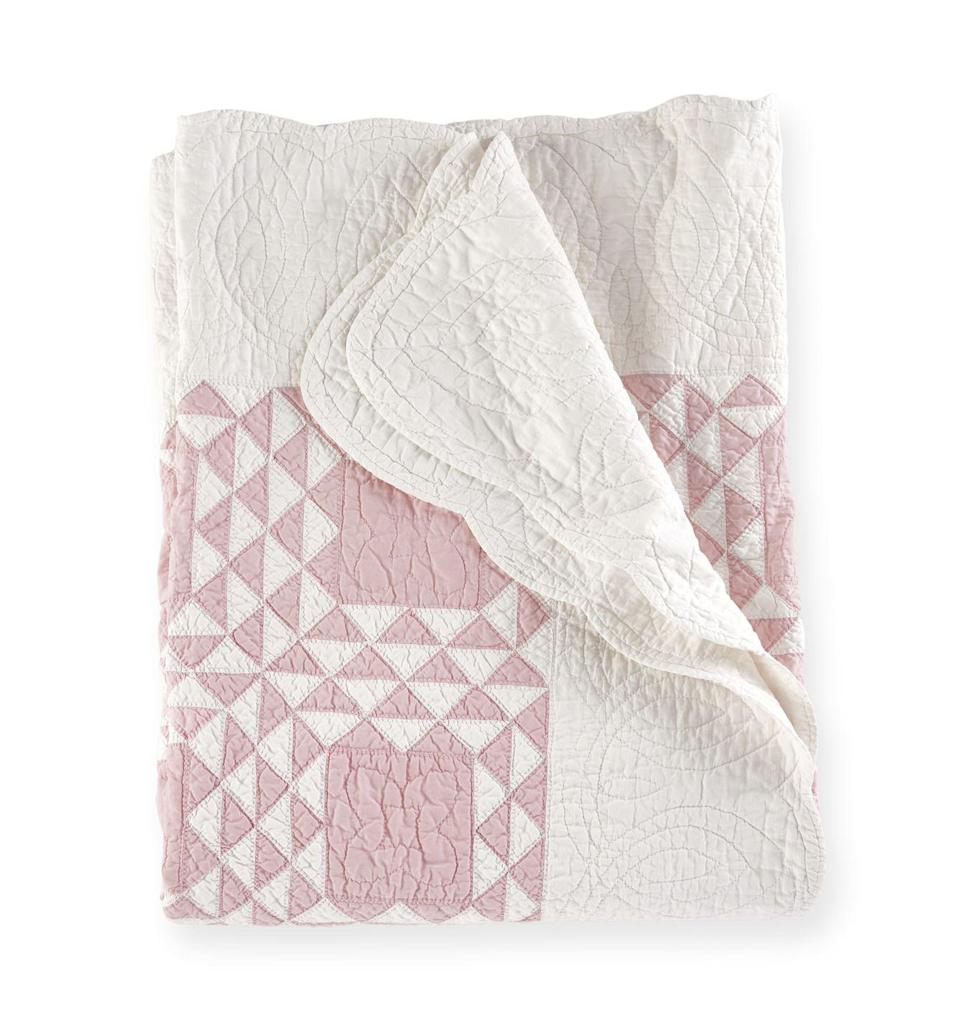 <p>Lately, <em>Country Living's</em> style editors have been coveting monochromatic vintage coverlets like the pretty pieced quilt shown here. Their back-to-basics patterns (typically a single color mixed with white) were popular in the 1930s and '40s and are reminiscent of early quilters' designs, when color and fabric options were limited.</p><p><strong>What it's worth:</strong> $150 to $450</p>