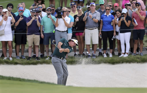 Phil Mickelson hits from a sand trap on the third hole during the third round of the Northern Trust golf tournament, Saturday, Aug. 25, 2018, in Paramus, N.J. (AP Photo/Mel Evans)