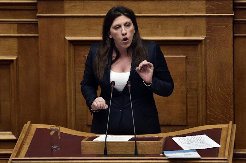 """The government accused parliamentary speaker Zoe Constantopoulou (pictured) of """"behaving like a dictator"""" after she branded snap elections """"undemocratic and unconstitutional"""" (AFP Photo/Aris Messinis)"""