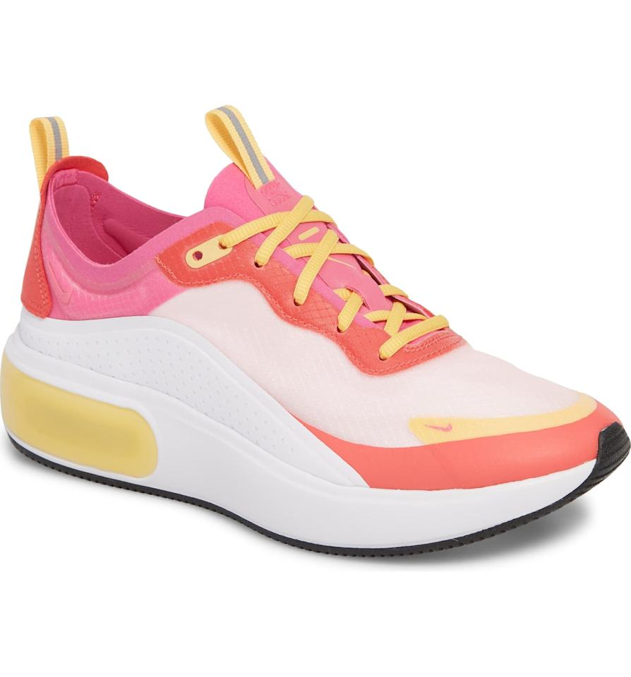"""<p>These <a href=""""https://www.popsugar.com/buy/Nike-Air-Max-DIA-SE-Running-Shoes-479573?p_name=Nike%20Air%20Max%20DIA%20SE%20Running%20Shoes&retailer=shop.nordstrom.com&pid=479573&price=105&evar1=fab%3Aus&evar9=46500355&evar98=https%3A%2F%2Fwww.popsugar.com%2Fphoto-gallery%2F46500355%2Fimage%2F46537017%2FNike-Air-Max-DIA-SE-Running-Shoes&list1=shopping%2Clabor%20day%2Csale%2Csummer%20fashion%2Csale%20shopping&prop13=api&pdata=1"""" rel=""""nofollow"""" data-shoppable-link=""""1"""" target=""""_blank"""" class=""""ga-track"""" data-ga-category=""""Related"""" data-ga-label=""""https://shop.nordstrom.com/s/nike-air-max-dia-se-running-shoe-women/5396599?origin=category-personalizedsort&amp;breadcrumb=Home%2FSale%2FWomen%2FNew%20Markdowns&amp;color=white%2F%20fuchsia%2F%20ember%20glow"""" data-ga-action=""""In-Line Links"""">Nike Air Max DIA SE Running Shoes</a> ($105, originally $120) are selling out fast!</p>"""