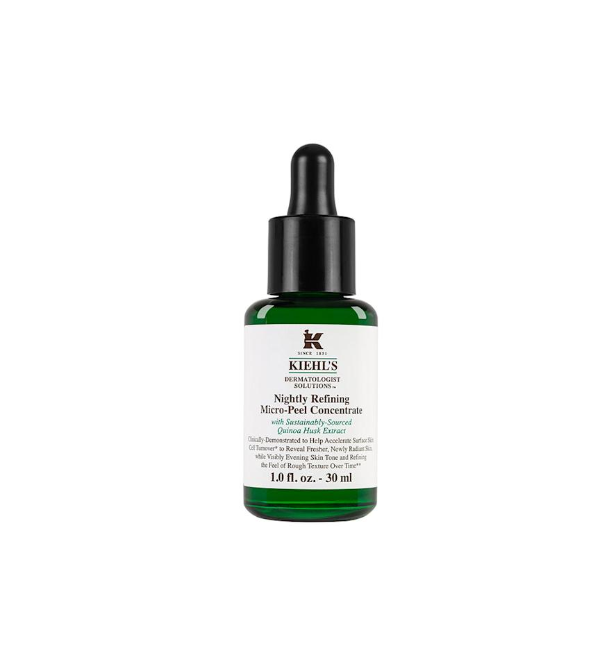 "<p>Kiehl's calls this serum a peel that is gentle enough to use nightly. If you're expecting the sharp sting of a peel — don't. This mild serum left my skin softer and brighter after a few weeks' use. <br /><br /><a rel=""nofollow"" href=""http://shop.nordstrom.com/s/kiehls-since-1851-dermatologist-solutions-nightly-refining-micro-peel-concentrate/4288739"">Buy it</a> </p>"