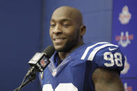 FILE - In this Jan. 1, 2017, file photo, Indianapolis Colts linebacker Robert Mathis speaks during a news conference following an NFL football game against the Jacksonville Jaguars in Indianapolis. Ten first-year eligible players, including defensive standout Robert Mathis, are among 122 nominees for the 2022 class of the Pro Football Hall of Fame, announced Wednesday, Sept. 22, 2021. (AP Photo/Darron Cummings, File)
