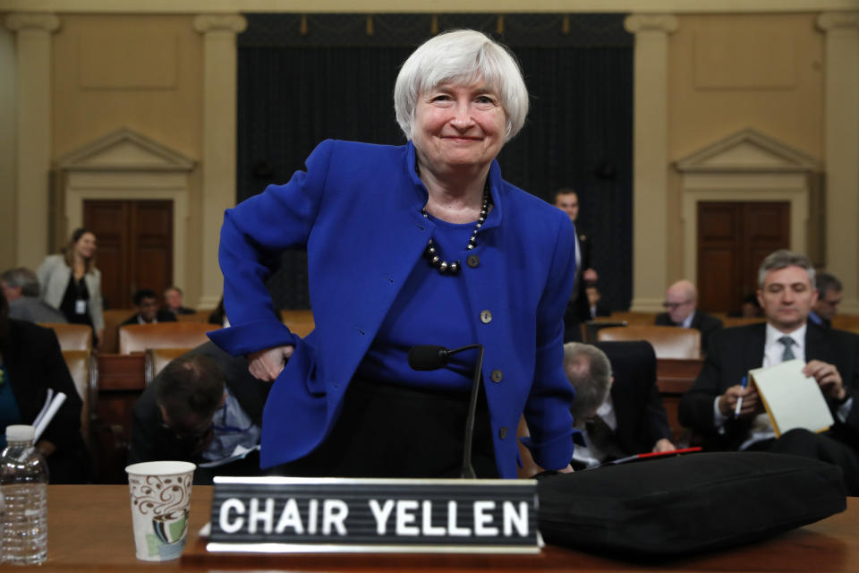 Federal Reserve Chair Janet Yellen gets up after testifying at a hearing of the Federal Reserve Board Joint Economic Committee, Wednesday, Nov. 29, 2017, in what is expected to be her last appearance on Capitol Hill in Washington. (AP Photo/Jacquelyn Martin)