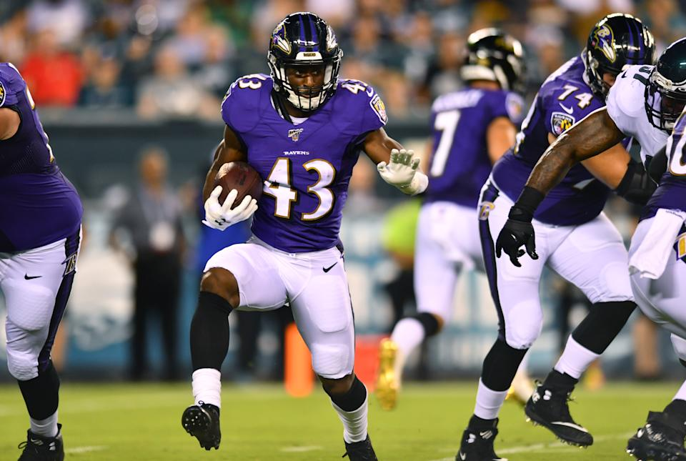 PHILADELPHIA, PA - AUGUST 22: Ravens RB Justice Hill (43) carries the ball in the first half during the Preseason game between the Baltimore Ravens and Philadelphia Eagles on August 22, 2019 at Lincoln Financial Field in Philadelphia, PA. (Photo by Kyle Ross/Icon Sportswire via Getty Images)