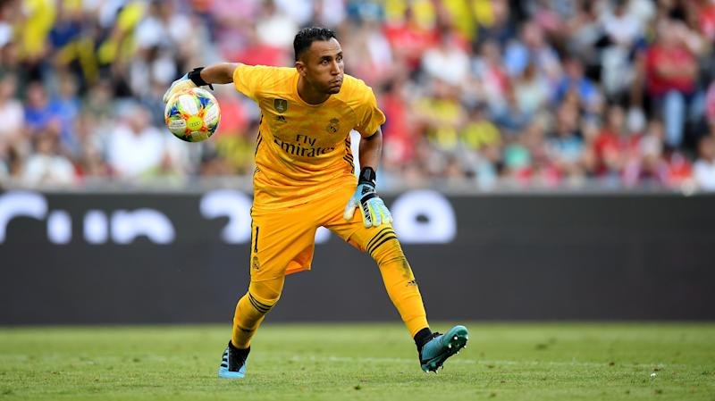MUNICH, GERMANY - JULY 30: Keylor Navan, goalkeeper of Madrid controls the ball during the Audi Cup 2019 semi final match between Real Madrid and Tottenham Hotspur at Allianz Arena on July 30, 2019 in Munich, Germany. (Photo by Matthias Hangst/Bongarts/Getty Images)