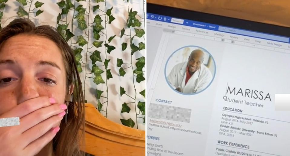 Marissa left with her hand covering her embarrassed face. Right is the doctor pictured on her resume.