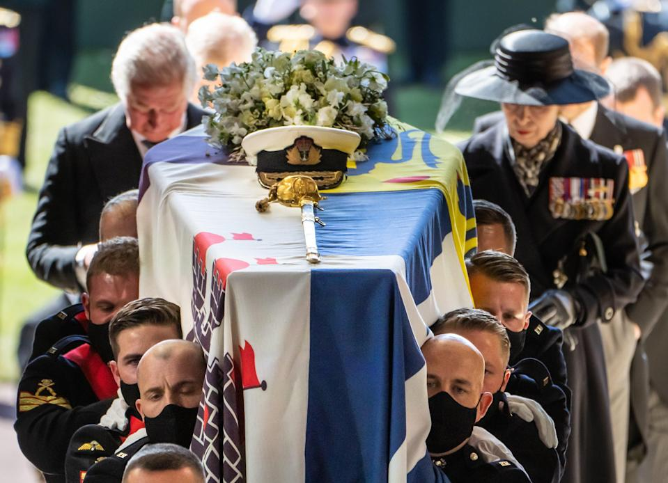<p>Pallbearers carry the Duke of Edinburgh's coffin </p> (PA Wire)