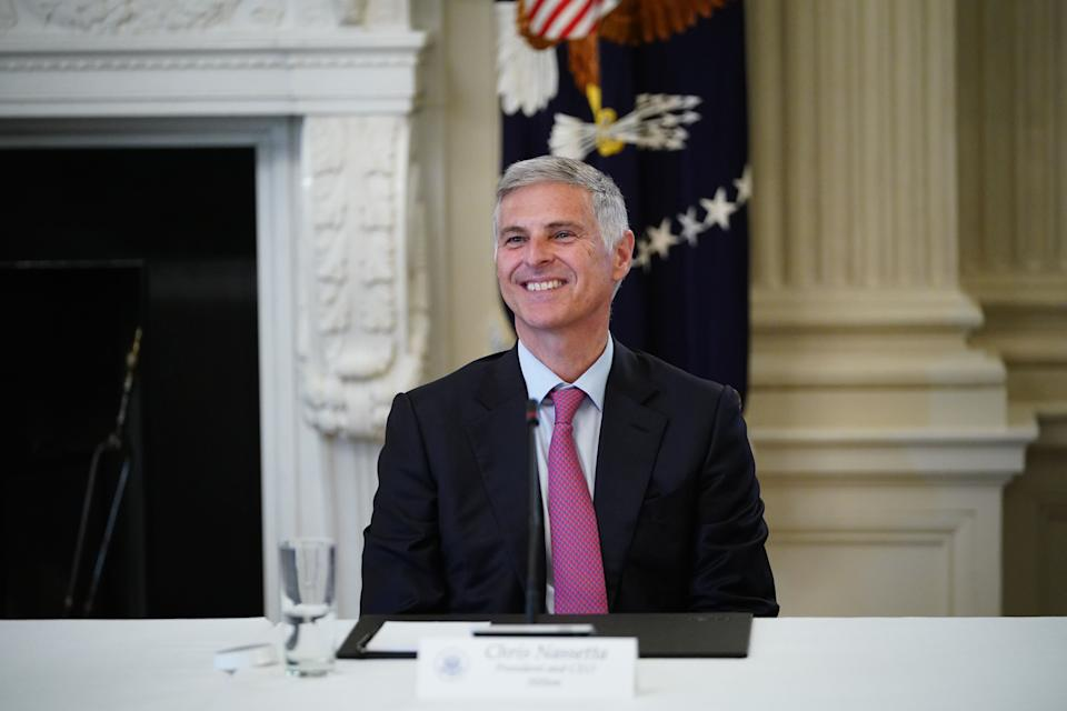 Chris Nassetta, President and CEO of Hilton takes part in a roundtable discussion with US President Donald Trump and other industry executives on Opening Up America Again in the State Dining Room of the White House in Washington, DC on April 29, 2020. (Photo by MANDEL NGAN / AFP) (Photo by MANDEL NGAN/AFP via Getty Images)