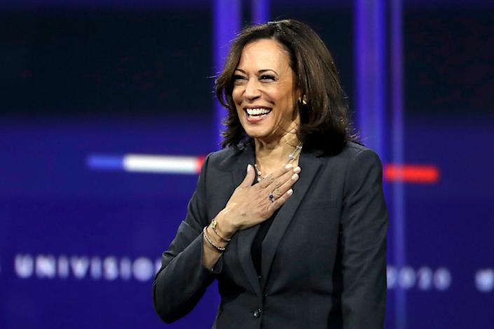 Sen. Kamala Harris, D-Calif., smiles during a presidential forum at the California Democratic Party's convention Saturday, Nov. 16, 2019, in Long Beach, Calif. (AP Photo/Chris Carlson)
