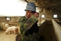 FILE PHOTO: Pig farmer Han Yi wipes his tears as he speaks to Reuters on his farm at a village in Changtu
